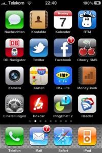 Screenshot meines iPhone-Homescreens