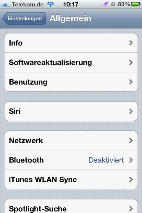 Allgemeine Einstellungen iPhone/iOS