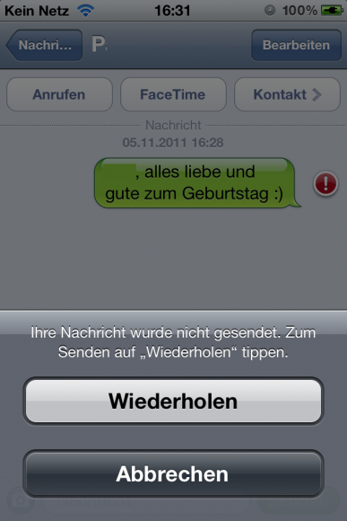 Screenshot iPhone Nachrichten-App