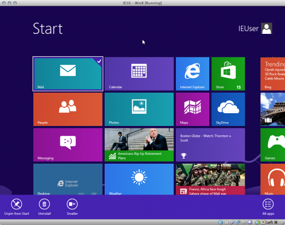 Screenshot: Windows 8 Startansicht