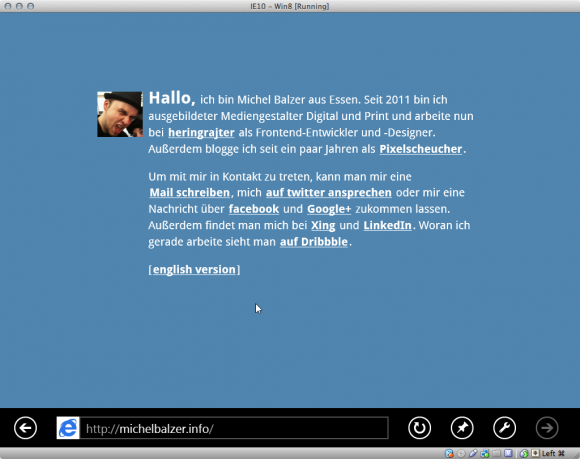 Screenshot: michelbalzer.info im Internet Explorer 10 Snap Mode