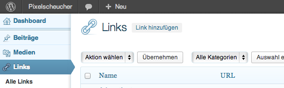 Screenshot WordPress-Links-Backend