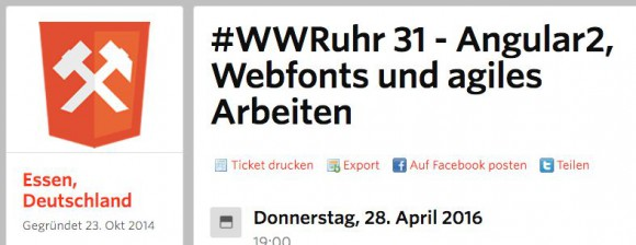 Screenshot WWRuhr auf MeetUp